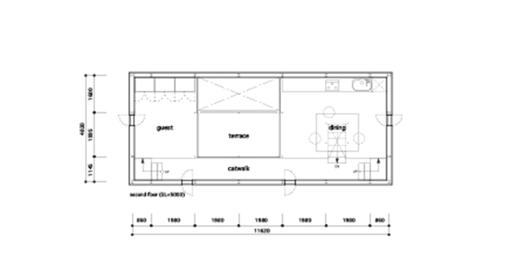 Plano de planta de Casa túnel de Makiko Tsukada Architects