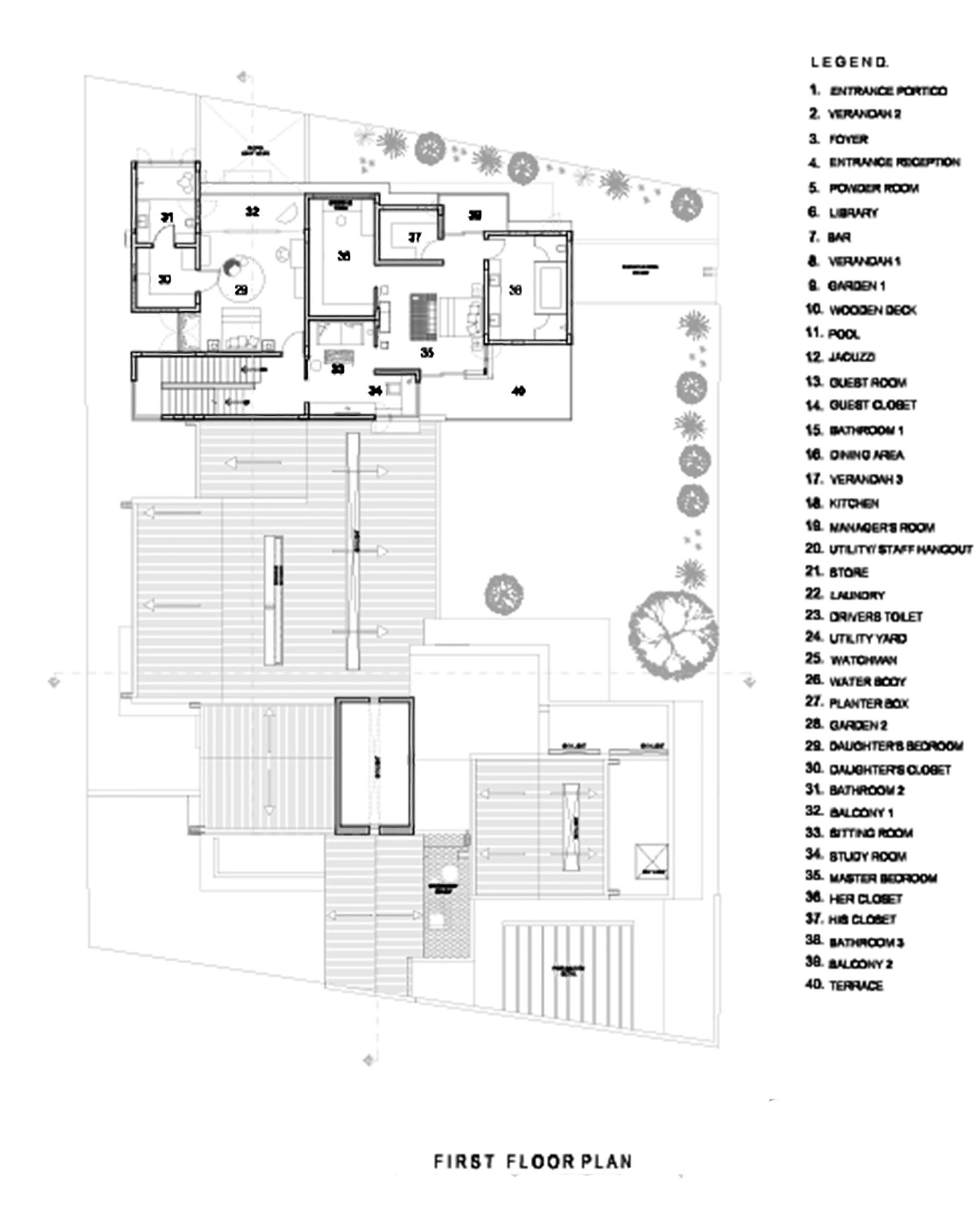 Plano Primer Nivel de Casa Librería de Khosla Associates