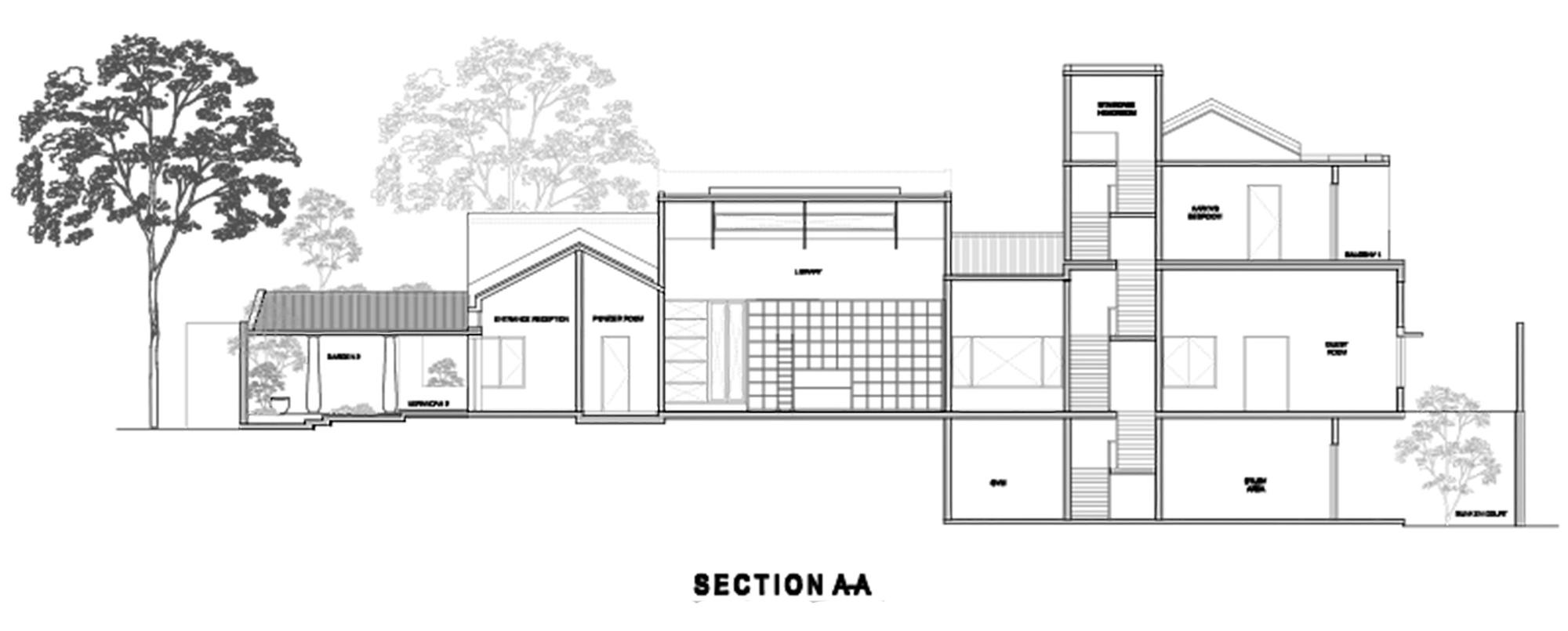Plano de Corte de Casa Librería de Khosla Associates