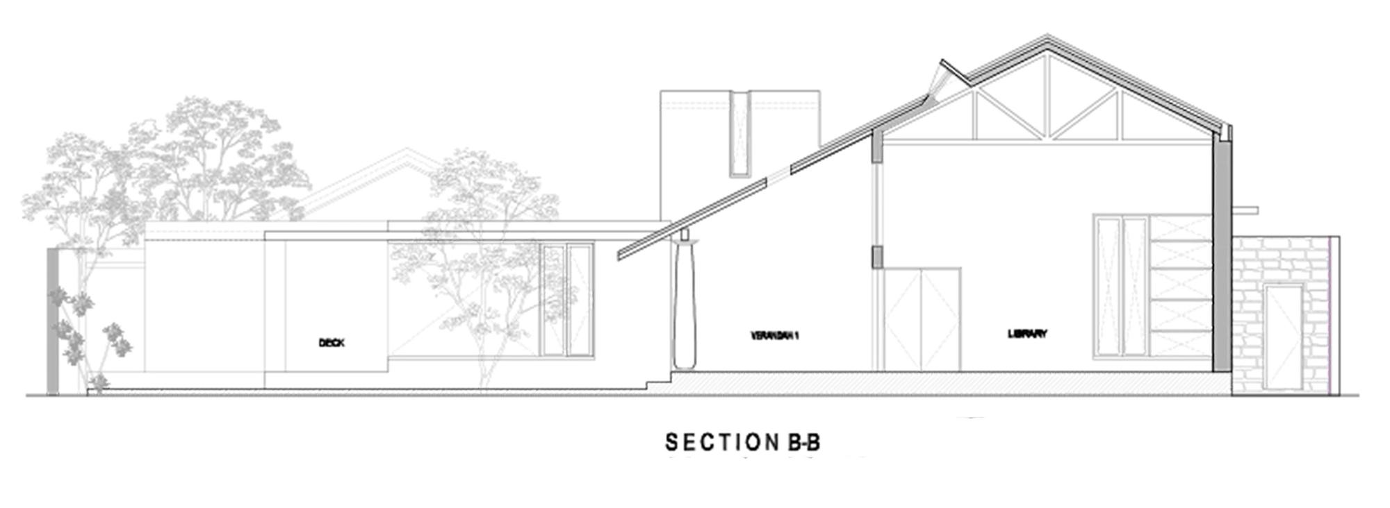 Plano Corte de Casa Librería de Khosla Associates
