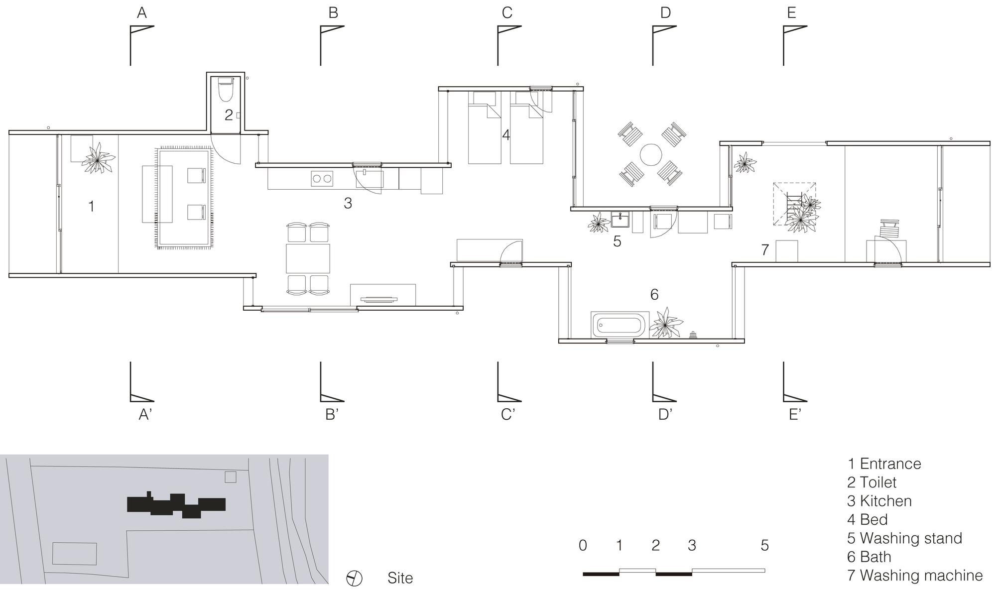 Plano de Casa Sakura de Yamazaki Kentaro Design Workshop