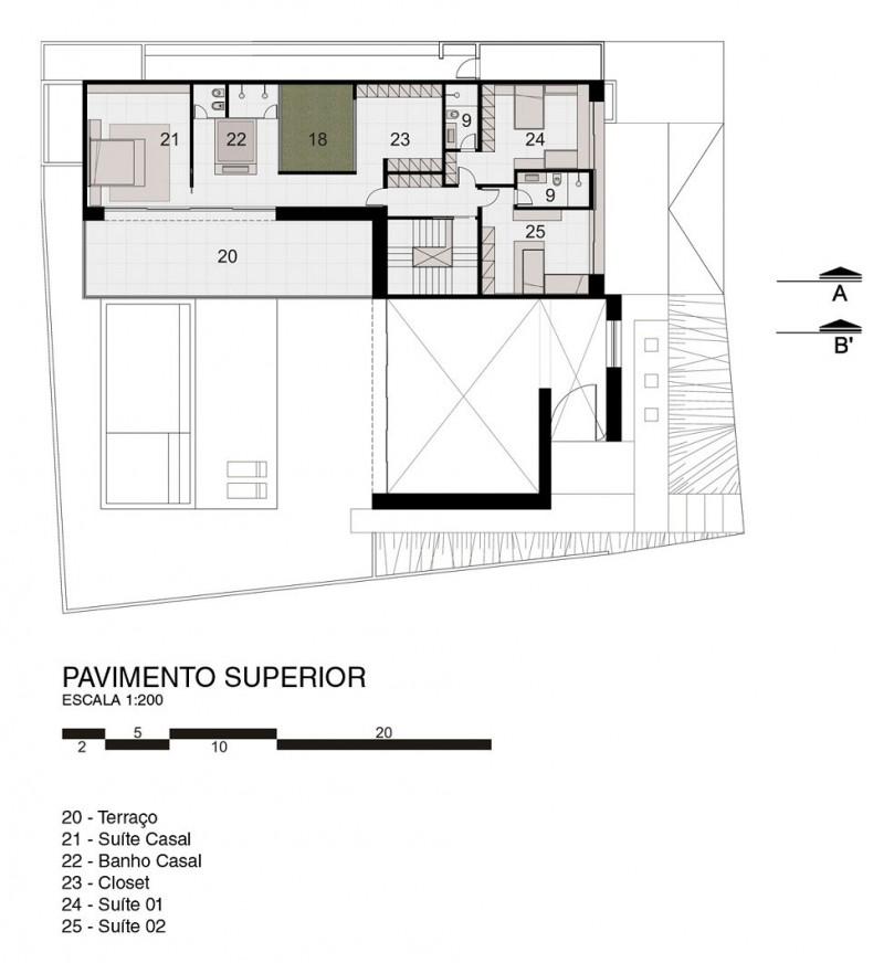 Planta de Casa FF de Studio Guilherme Torres