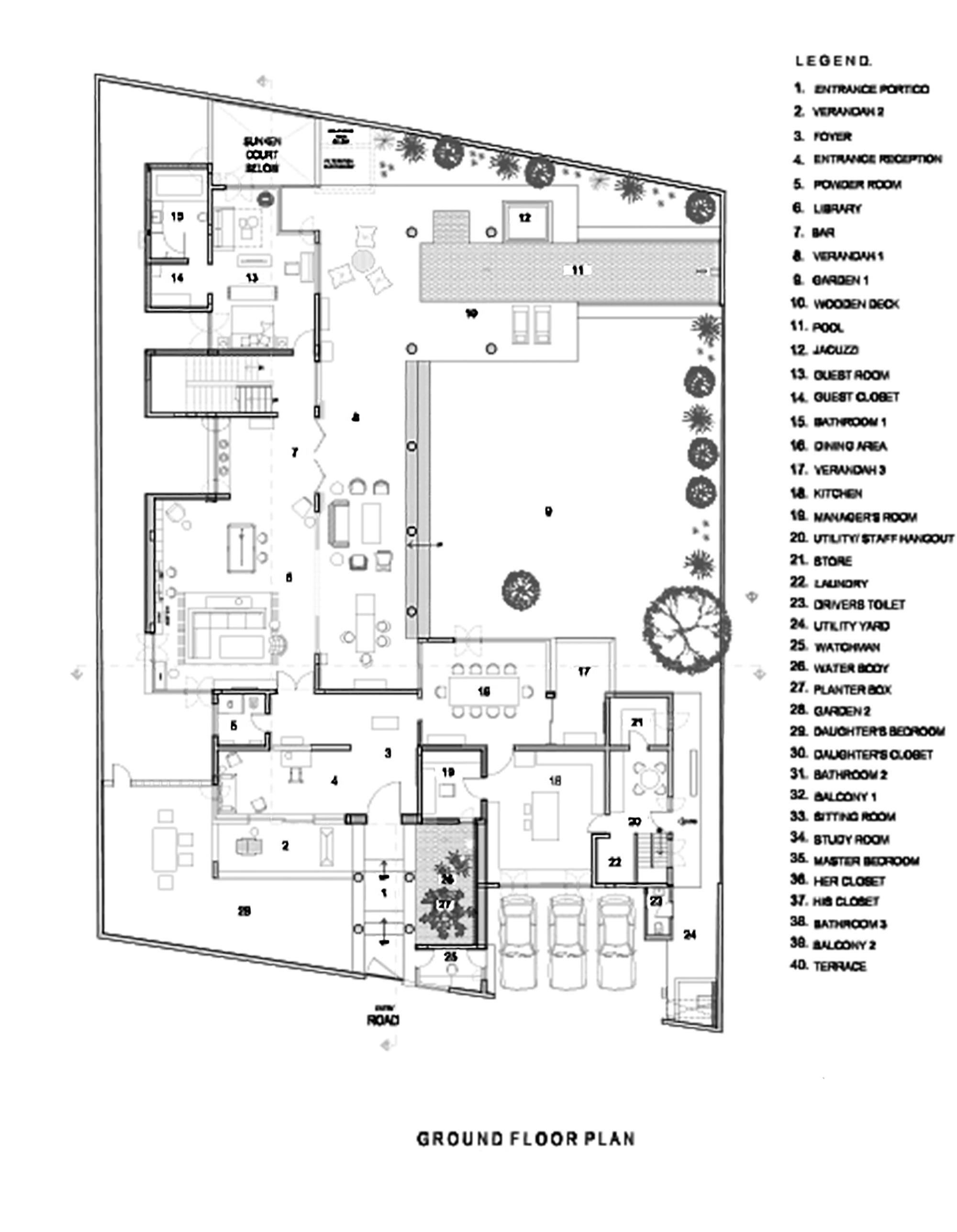 Plano de Casa Librería de Khosla Associates
