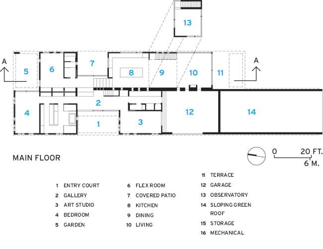 Plano de planta de Topo House de Johnsen Schmaling Architects