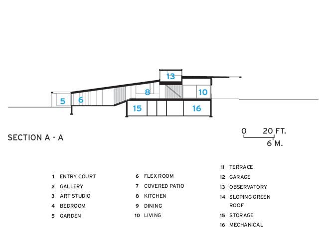 Plano de corte de Topo House de Johnsen Schmaling Architects