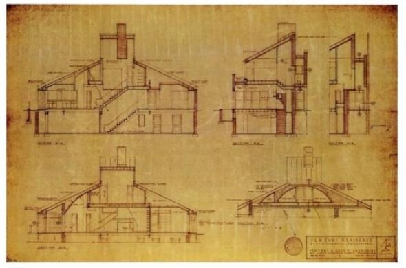 Planos de Casa Vanna Venturi de Robert Venturi