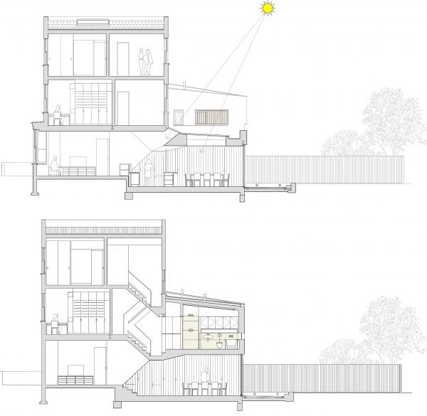 Planos de Cortes de Casa Inslington House de Neil Dusheiko Architects