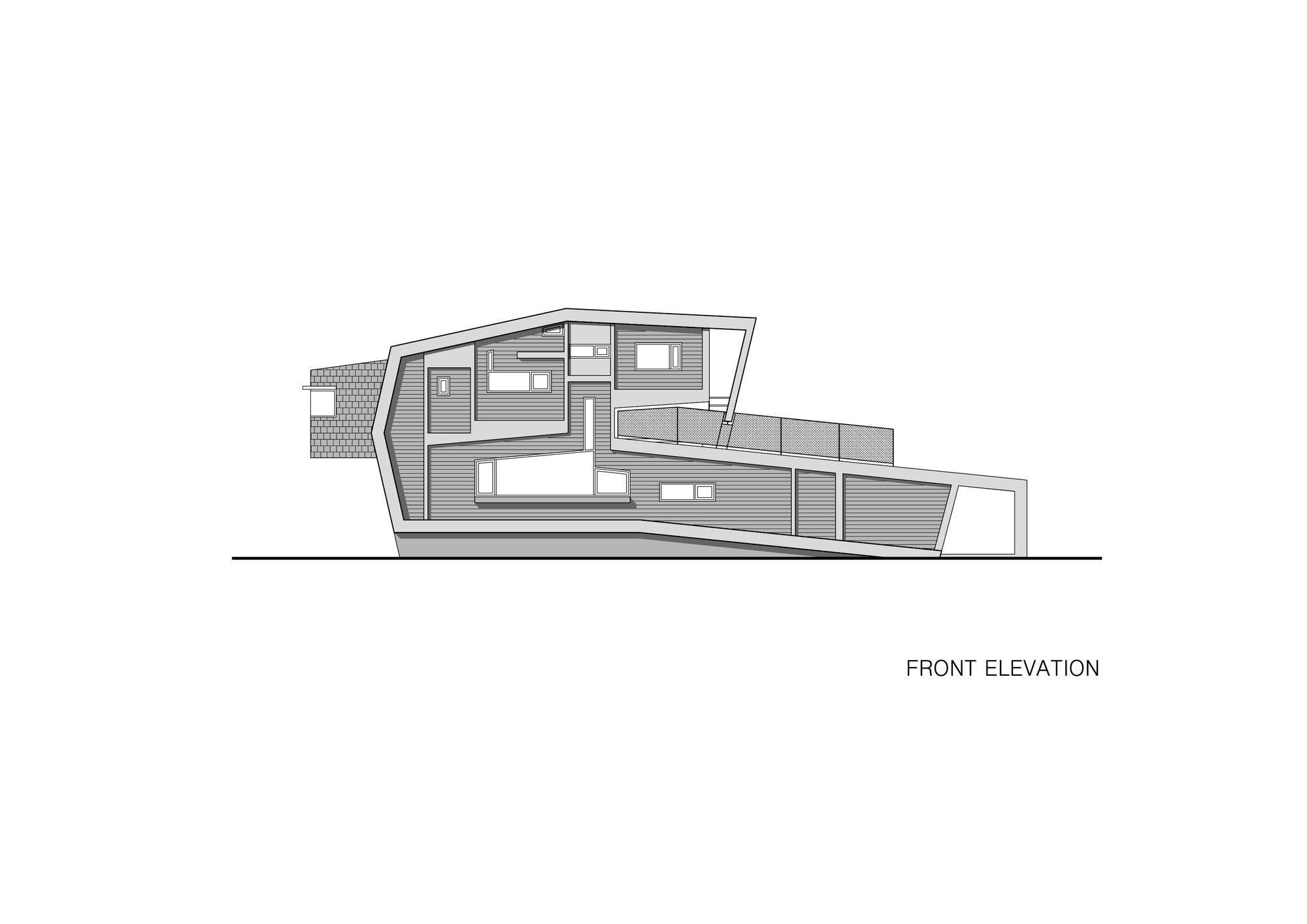 Planos de Elevación Casa Enrollada de Moon Hoon