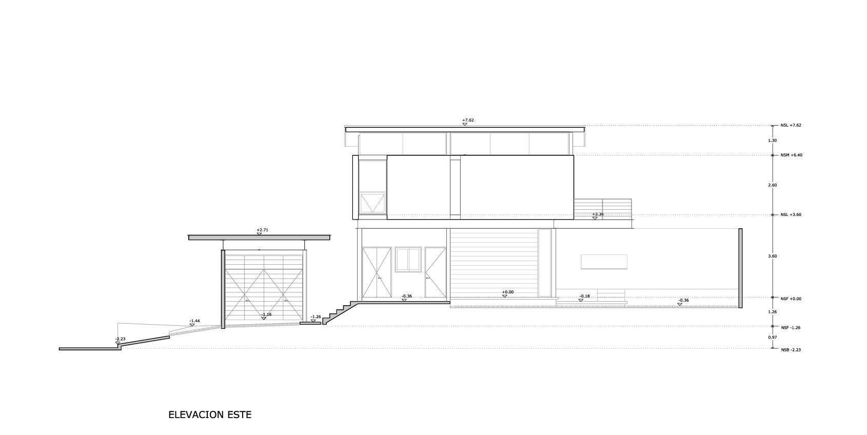 Planos de Elevación Este de Bambara Street de Shaun Lockyer Architects