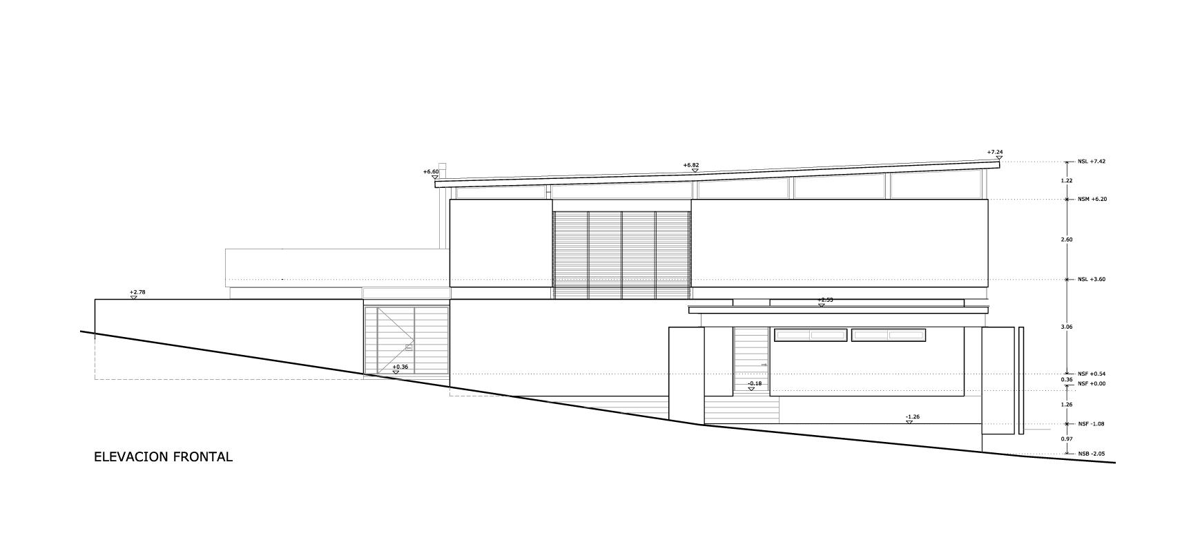 Planos de Elevación Frontal de Bambara Street de Shaun Lockyer Architects