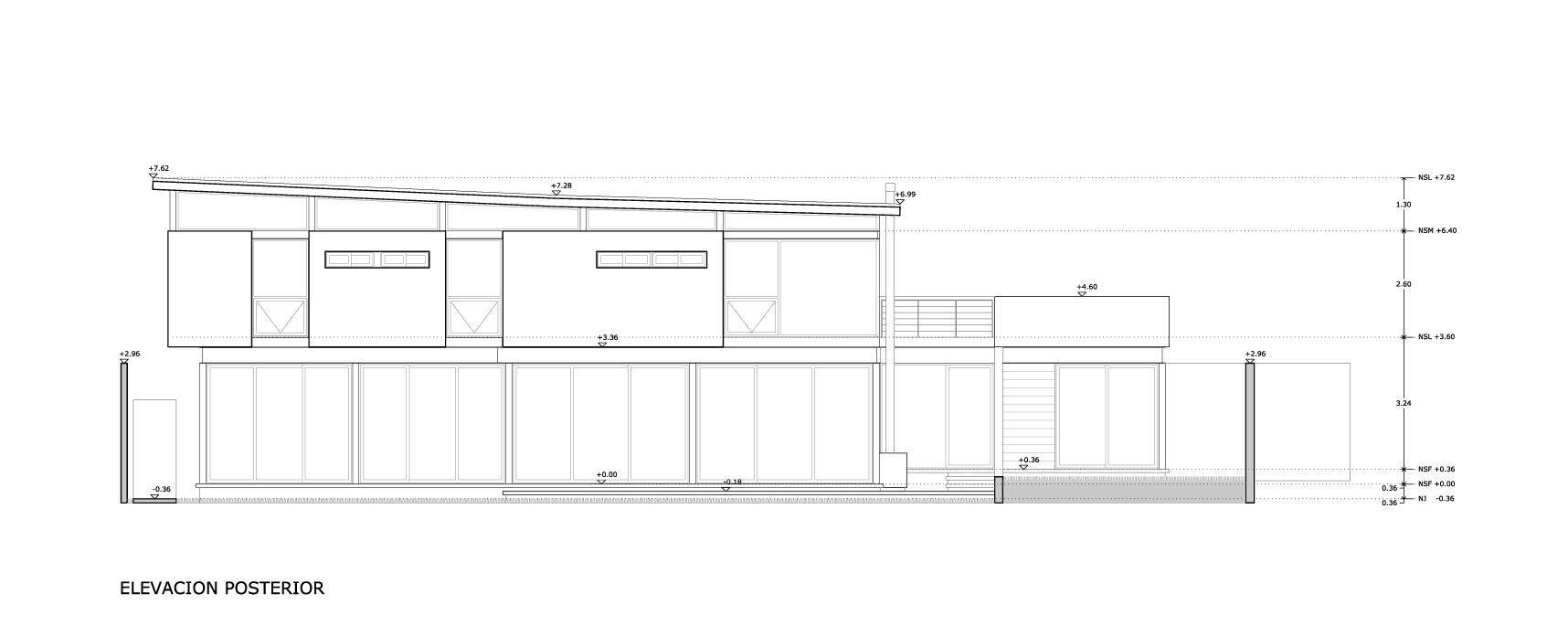 Planos de Elevación trasera de Bambara Street de Shaun Lockyer Architects