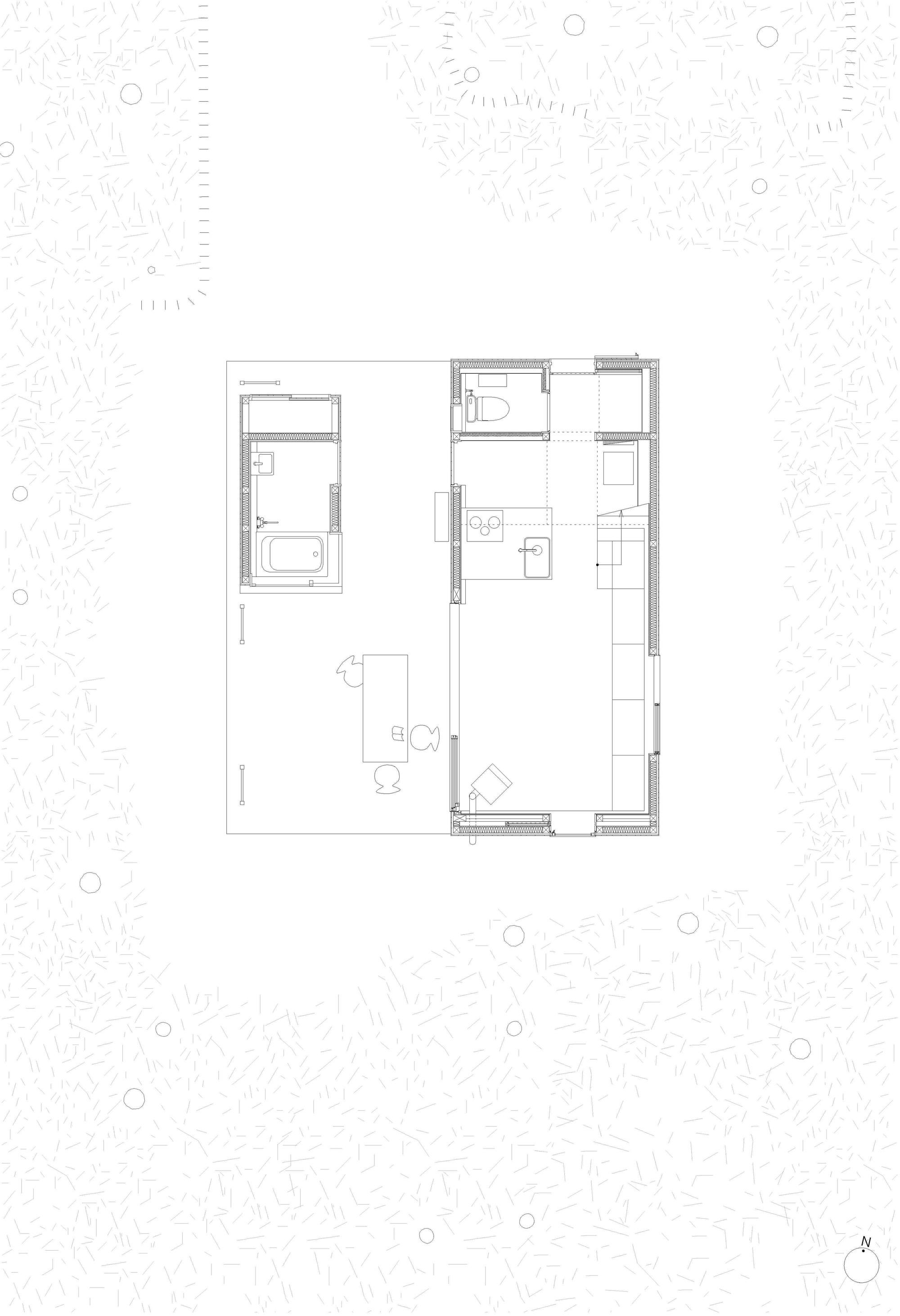 Planta de Villa Hakuba de Naka Architects