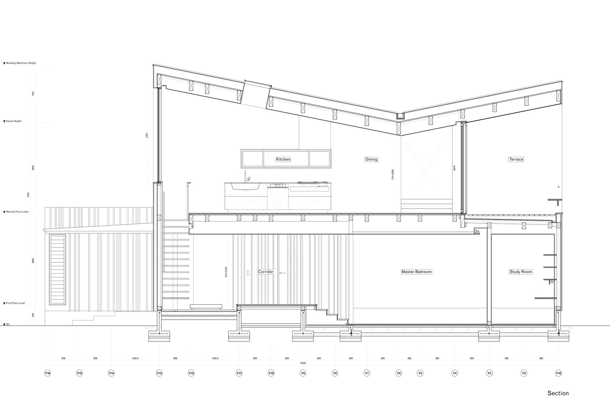 Planos de Casa O de Takeru Shoji Architects