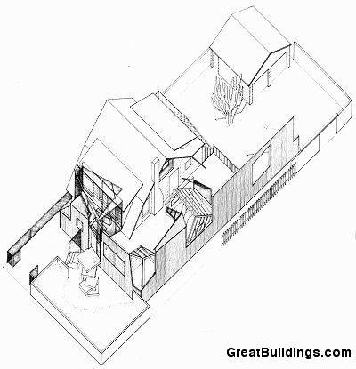 Plano de Axonometría de Casa Gehry de Frank Gehry