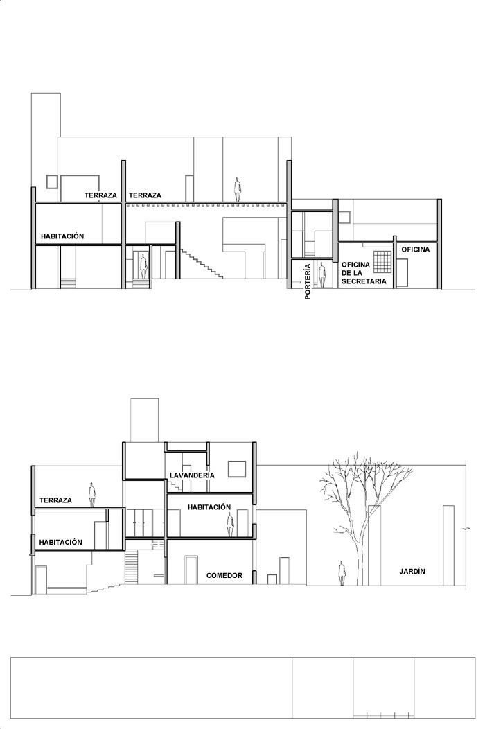 Planos de cortes de Casa Estudio Luis Barragán