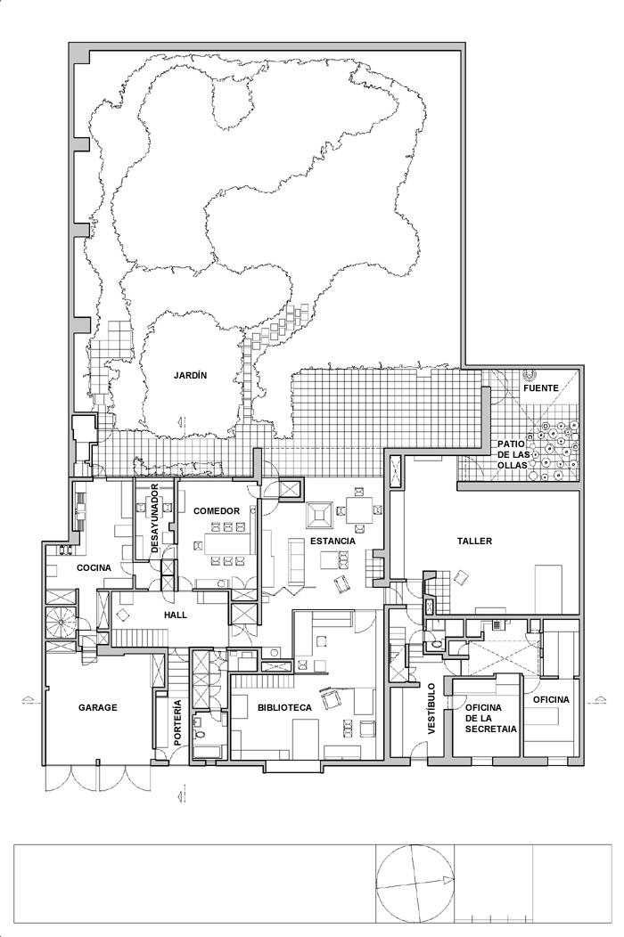 Planos de primera planta de Casa Estudio Luis Barragán