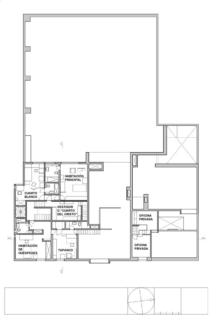 Planos de segunda planta de Casa Estudio Luis Barragán