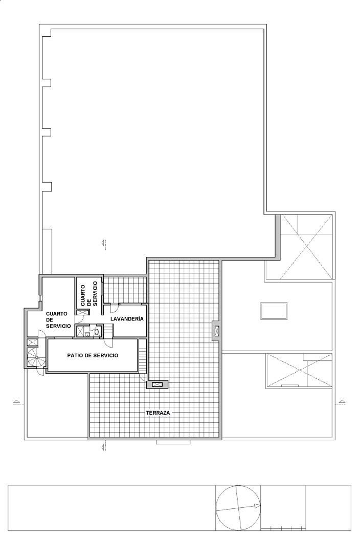 Planos de tercera planta de Casa Estudio Luis Barragán